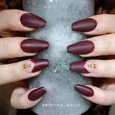 This mani by @kristine_nails made it on our must-have list! ⭐️  Match up a deep red and a little gold bling for a match made in heaven. See more: