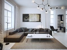 черно-белый минималистичный интерьер с классическими элементами