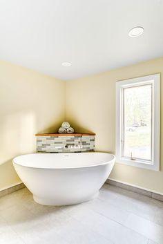 Natural Contemporary Master Bathroom #modern #bathroom #homedecor #bathroomideas #bathroomdesign #remodeling #interiordesign Bathroom Modern, Master Bathroom, Pebble Shower Floor, Custom Shower Doors, Neo Angle Shower, All White Room, Tub Faucet, Bathroom Renovations