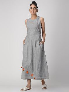 Grey Striped Hand-embroidered Handwoven Cotton Dress with Tassels Kurti Designs Party Wear, Kurta Designs, Blouse Designs, Trendy Dresses, Casual Dresses, Fashion Dresses, Linen Dresses, Cotton Dresses, Indian Gowns Dresses
