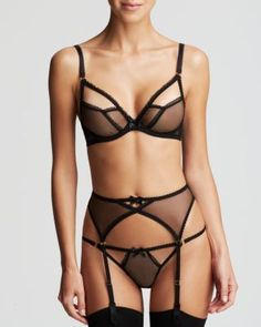 L'Agent by Agent Provocateur Unlined Open Bra, Tanga & Suspender Belt Women - Lingerie, Hosiery & Shapewear - The Boudoir - Bloomingdale's Jolie Lingerie, Lingerie Shoot, Sewing Lingerie, Pin Up Lingerie, Pretty Lingerie, Black Lingerie, Women Lingerie, Black Bra, Classy Lingerie