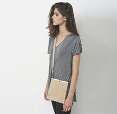 Earthy colours  at DaWanda Small Leather Bag-This elegant small leather bag has a unique design, it's made from beautiful high quality leather in sand color and has an antique style lock that makes it even more interesting- women's accessories, leather clutch  – a unique product by Cyan-Bags via en.dawanda.com