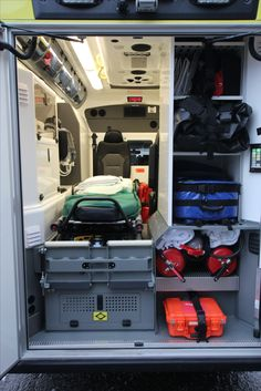 Since the equipment needed in various rescue tasks must be readily available, the multi-functional modular ambulance has plenty of storage space and a place of its own for each equipment and device needed. Emergency Vehicles, Fire Trucks, Storage Spaces, Recovery, Indoor, Collection, Design, Glass Pool, Ambulance