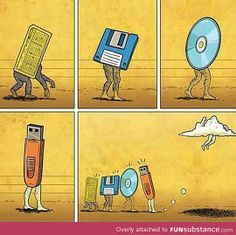 Perfectly illustrates the evolution of technology. Though I still utilize USBs, gone are the days of floppy disks and CDs; essentially getting left behind due to the popularity of storing information on 'clouds'. Life has progressively become simpler and this photo does a good job in illustrating it.