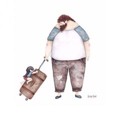 dibujo en acuarela soosh papá con maleta y la hija encima de la maleta