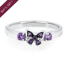 Amethyst Butterfly Stack Ring in Sterling Silver  available at #HelzbergDiamonds
