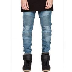 22.09$  Watch here - Fashion Pleated Biker Jeans Stretch Slim Straight Elastic Denim Jeans Men Hip Hop Skateboards Motorcycle Jogger Pants Brand 2017  #buyonlinewebsite