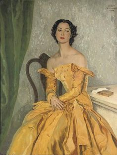 Portrait of Simone Gentile in a yellow gown by Serge Ivanoff, 1954