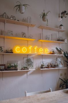 Coffee neon sign for cafe, coffee shops, coffee to go, restaurants and other Small Restaurant Design, Decoration Restaurant, Cafe Decoration, Small Cafe Design, Vintage Cafe Design, Modern Restaurant, Restaurant Ideas, Coffee Shop Decorations, Restaurant Logo