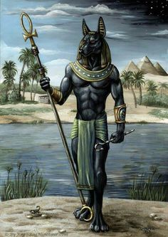 Anubis is the Greek name for a jackal-headed god associated with mummification and the afterlife in ancient Egyptian religion. He is the son of Nephthys and Set according to the Egyptian mythology.