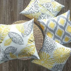 Phantoscope New Living Yellow&Grey Decorative Throw Pillow by Michael Lindner Yellow Throw Pillows, Yellow Cushions, Throw Pillow Cases, Toss Pillows, Yellow Pillow Covers, Living Room Kitchen, Living Room Decor, Living Spaces, Grey And Yellow Living Room
