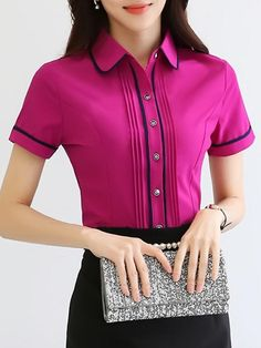 Short Sleeve Contrast Trim Blouse Buy Short Sleeve Contrast Trim Blouse online with cheap prices and Cheap Blouses, Blouses For Women, Blouse Styles, Blouse Designs, African Fashion Dresses, Fashion Outfits, Fashion Blouses, Zeina, Shirt Bluse