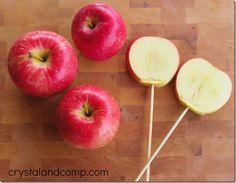 letter of the week snack ideas: l is for lollipop (a healthy apple lollipop)