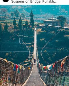This is Punakha Suspension Bridge. At 160 metres, it is the longest in Bhutan and perched above the Po Chhu River. Bhutan, New Delhi, Luxury Words, Prague, Travel Around The World, Around The Worlds, Inflatable Island, Destination Voyage, Suspension Bridge