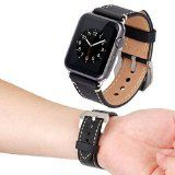 Apple Watch Band Tirnga Iwatch Genuine Leather Crazy Horse Handmade Vintage Replacement Watchband Straps Wrist Band with Classic Metal Clasp Buckle & Connectors & Sport & Edition 42mm Black