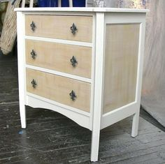 2 toned dresser with dry brushing effect on drawers.