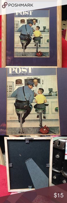 Framed print Norman Rockwell Precious Saturday Evening Post framed, 8 by 10 print of a drug store scene by Norman Rockwell. Dated September 20, 1958. Can be hung or set on a table. Great condition, and very nostalgic. Other