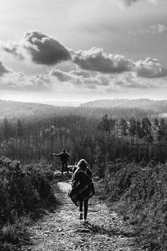 Hiking in black and white shades