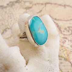 Turquoise & Sterling Silver Split Band Ring. $100.00 USD, via Etsy.