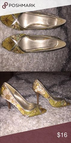 Charlotte Russe heels Floral silk heels with gold. Worn only a handful of times. Size 6. Charlotte Russe Shoes Heels