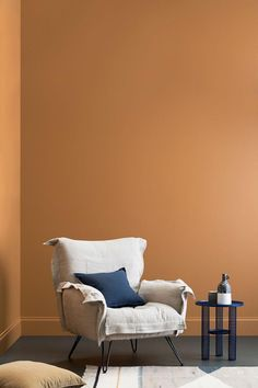 From dark and moody to stark and crisp, discover the latest interior colour trends Interior Wall Colors, Interior Walls, Bedroom Colors, Orange Interior, Simple Interior, Home Interior Design, Mustard Walls, Color Trends, Colour Schemes
