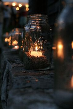 Mason jars can be made into great outdoor lights for all of your summer bonfires and cookouts.