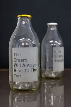 Etched Milk Bottle - Cream Always Rises To The Top