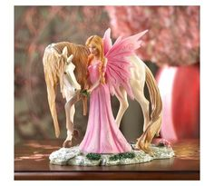 Pink Fairy Friend Figurine With Unicorn $29.95