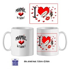 Mug céramique, ma Mamie je t'aime plein de coeur…