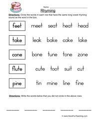 Rhyming Worksheet 2 | Anh | Rhyming worksheet, Rhyming words, Free ...