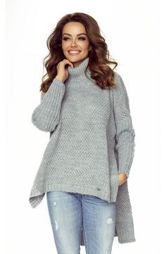 Gray Turtleneck High-Low Jumper European Fashion, Unique Fashion, Timeless Fashion, Womens Fashion, Grey Turtleneck, Cable Knit Sweaters, High Low, Knitwear, Jumper