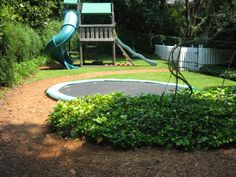 Garden Design With Trampoline in ground trampoline complete with safety pads--great for kids