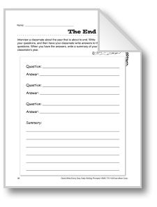 Try out this writing activity for grades 4-6, where students interview another student about events during the school year.