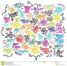 Urban art and graffiti tags, slogans