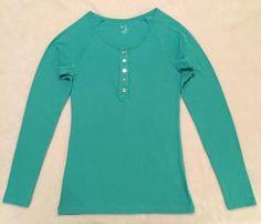 GAP Women's Sz XL Henley Scoop-Neck 5 Button Tee #926962-05-1 Aqua $22.99 NWT #GAP #KnitTop #Casual