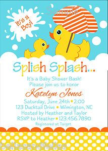 Rubber Duckie Birthday Party Invitations Baby By BellasnFellas