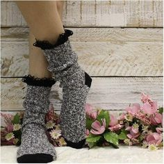 BOOTIE lace boot socks - salt n pepper, fall trending socks, fashion accessories, cute trendy style Bootie Socks, Lace Boot Socks, Lace Ankle Boots, Grey Boots, Knee High Socks Outfit, High Socks Outfits, Fall Socks, All Weather Boots, Cute Socks