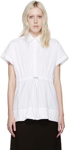 Christopher Kane - White Poplin Drawstring Shirt