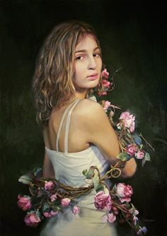 """""""Wrapped in Roses"""" - Ardith Starostka, oil on linen {contemporary figurative artist beautiful blonde-brunette female standing young woman portrait painting} starstudioarts.com"""