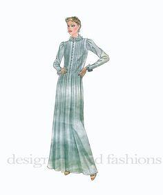 1980s ALBERT NIPON Tucked Bodice Dress W/ by DesignRewindFashions, $10.00