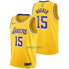 6f200ed63f4aa Maillot NBA Nike Los Angeles Lakers NO.15 Moritz Wagner Jaune Icon 2018-19