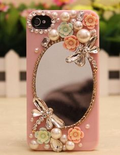 Sparkly mirror flowers hard back mobile phone case cover rhinestone case cover for iphone 4 5 6 6 plus samsung galaxy 3 4 Girly Phone Cases, Diy Phone Case, Mobile Phone Cases, Phone Covers, Iphone Cases Bling, Whatsapp Pink, Iphone7 Case, Accessoires Iphone, Idee Diy