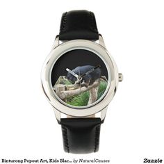 Binturong Popout Art, Kids Black Leather Watch