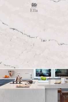 Beautifully timeless, our Ella design features a mixture of lines and intersecti. Kitchen Redo, Kitchen And Bath, New Kitchen, Kitchen Remodel, Kitchen Design, Kitchen Ideas, Cambria Countertops, Kitchen Countertops, Cambria Quartz