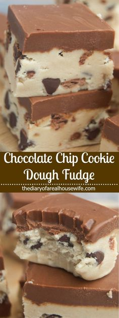 Super simple and easy to make this Chocolate Chip Cookie Dough Fudge taste just like a square of my all time favorite cookie dough. Chocolate Chip Cookie Dough Fudge These Chocolate Chip Cookie Doug Fudge Recipes, Candy Recipes, Baking Recipes, Sweet Recipes, Cookie Recipes, Dessert Recipes, Cookie Dough Vegan, Cookie Dough Fudge, Chocolate Chip Cookie Dough
