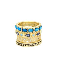 Another great find on #zulily! Cubic Zirconia & Turquoise Los Altos Stackable Ring Set #zulilyfinds