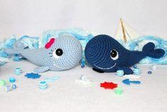 Crochet Stuffed Toys Free amigurumi pattern crochet whale - This free amigurumi pattern will help you to create a couple of amazing blue whales! The whale amigurumi patte Crochet Whale, Cute Crochet, Crochet Dolls, Crochet Fish, Crochet Animal Patterns, Stuffed Animal Patterns, Crochet Animals, Whale Pattern, Free Pattern