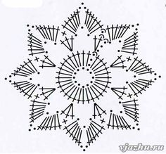 Crochet Snowflake + Free Pattern Step By Step + Diagram Crochet Snowflake Pattern, Crochet Stars, Crochet Doily Patterns, Crochet Snowflakes, Crochet Mandala, Crochet Diagram, Crochet Doilies, Crochet Flowers, Crochet Stitches