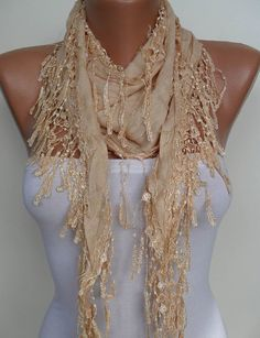 Tan Color Shawl / Scarf with Lace Edge by SwedishShop on Etsy, $14.90