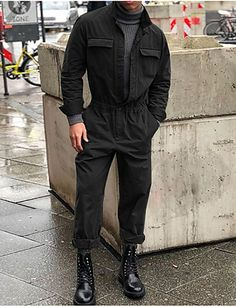 Men's Daily Basic Black Gray Army Green Jumpsuit, Solid Colored XL XXL XXXL Long Sleeve
